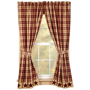 Burgundy Farmhouse Star 63quot Curtain Panels