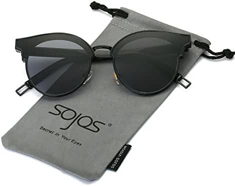 SojoS Round Vintage Mirrored Lens High Fashion Metal Unisex Sunglasses SJ1055