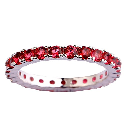 Psiroy Women's 925 Sterling Silver Created Ruby Spinel Filled Eternity Stackable Band Ring