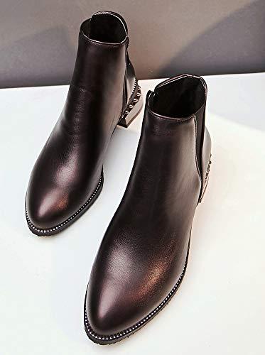 Chelsea Boots Motards Femme Mode Talon Low Moyen Brun Bottines Aisun HqUB8O4q