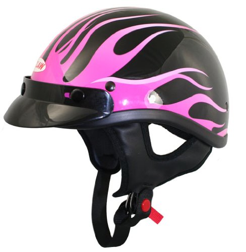 Dot Pink Motorcycle (Outlaw T70 DOT Black Pink Flames Half Helmet With Visor - Medium)