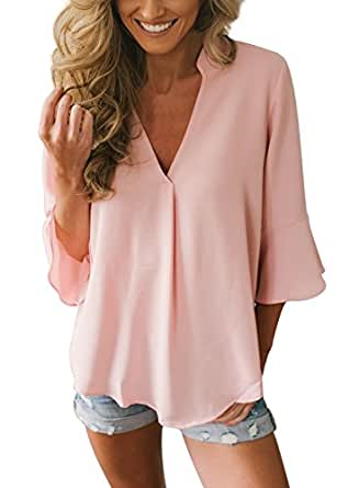 FIYOTE Women 2018 Fashion Casual V Neck 3/4 Long Sleeve Chiffon Blouse and Tops Small Size Pink