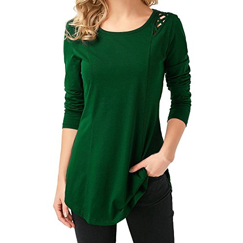 2018 Vovotrade Women Casual Long Sleeve Tops Fashion Hollow Out Criss Cross Pullover Solid Slim Fit Top T Shirt Tops Chic Autumn and Winter Blouse Size S-2XL Green