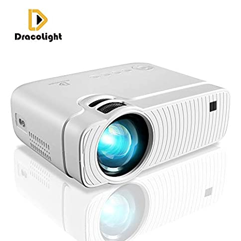 """Mini Projector, DracoLight 3300 Lumens Portable Projector Max 180"""" Display 50000 Hours Lamp Life LED Video Projector Support 1080P, Compatible with USB/HD/SD/AV/VGA for Home Theater (White) - 41nPrZI9ePL - Mini Projector, DracoLight 3600 Lumens Portable Projector Ideal 180″ Display 50000 Hours Lamp Life LED Video Projector Support 1080P, Compatible with USB/HD/SD/AV/VGA for Home Theater (White)"""