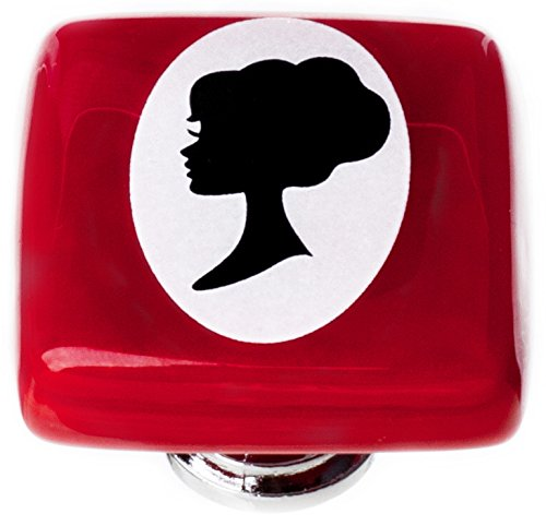 Sietto K-1176-PC New Vintage Square Woman Cameo Knob with Polished Chrome Base, Red