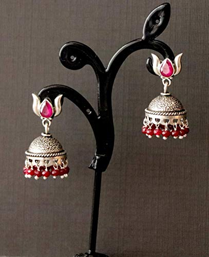 Rare Unique Onyx Gemstone Ring - Jhumka, Jhumki, Antique, Unique, Rare, Red Onyx, Oxidized Sterling Silver Earrings