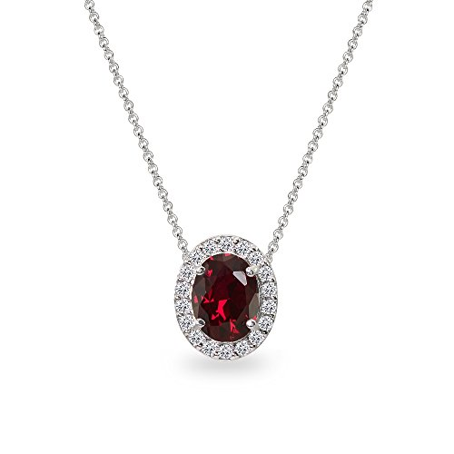 (Sterling Silver Created Ruby Oval Halo Slide Pendant Necklace with CZ Accents)