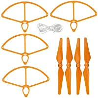 UUMART 4 Propellers and 4 Prop Guards for DJI Phantom 4 RC Quadcopter Spare Parts Self-tightening Propeller-Orange