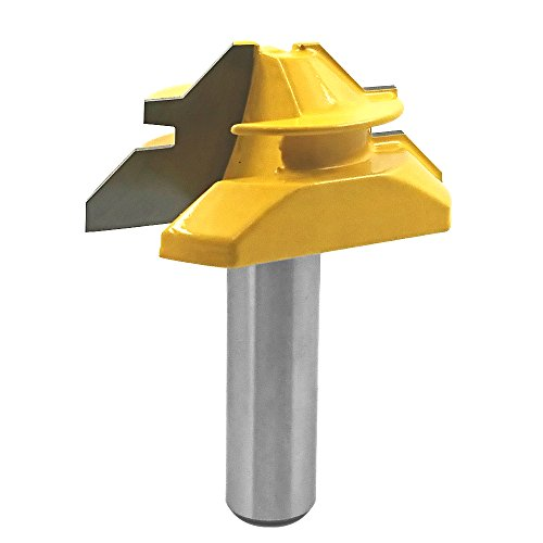 Bestgle 1/2 Inch Shank Lock Miter Router Bit 45-Degree 3/4 Inch Stock 2 Inch Diameter Woodworking Cutter Tool - Edge Lock