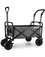 """WHITSUNDAY Collapsible Folding Garden Outdoor Park Utility Wagon Picnic Camping Cart with 8"""" Bearing Fat Wheel and Brake (Standard Size(Plus+) 8"""" Wheels with Push Bar, Grey)"""