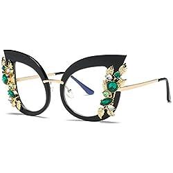 Voberry Fashion Diamond Cat Ear Sunglasses for Women丨Vintage Style丨Classic Metal Frame丨Sun Protection (D)