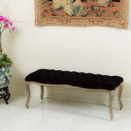 Noble House Hannah Tufted Black Velvet Bench by Noble House