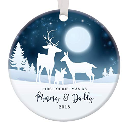 First Christmas as Mommy & Daddy 2018 Ornament 1st Holiday New Parents Infant Son Daughter Pretty Porcelain Deer Family Collectible 3 Flat Ceramic Keepsake with White Ribbon & Free Gift Box OR00037