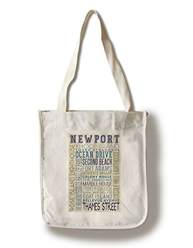 Newport, Rhode Island - Typography (100% Cotton Tote Bag - Reusable, Gussets, Made in - Rhode Newport Shopping Island