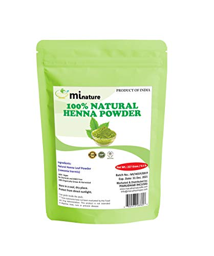 mi nature Henna Powder (LAWSONIA INERMIS)/ 100% Pure, Natural and Organic From Rajasthan, India (227g / (1/2 lb) For Hair Dye/Color, from mi nature