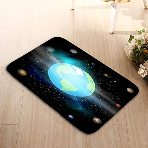 YGUII Welcome Doormats Non-Slip Doormat Non-Woven Fabric Floor Mat Indoor Entrance Rug Decor Mat 48(L) x 16(W) Inch Blue Planet Against Universe Solar System Earth Space