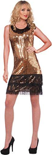 Forum Novelties Women's Ritzy Glitzy Sequin Flapper Dress, Gold/Black, X-Small/Small