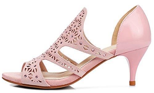 Lizform Donne Peep Toe Sera Tacchi A Spillo Motivo Floreale Sandali Con Slip Pompe Con Tacco A Pompa Pink2