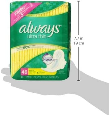 ALWAYS Ultra Thin Size 1 Regular Pads With Wings Unscented, 46 Count (Pack of one)