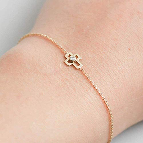 Gold Cross Bracelet 14K Solid Gold White Diamond Bracelet Simple Tiny Diamond Bracelet Stacking Stackable Dainty Minimalist Delicate Religious Gift for Baptism Christening GB0288 ()