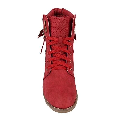 Stiefelparadies Damen Stiefeletten Schnürstiefeletten Worker Boots Zipper Schuhe Flandell Rot Autol