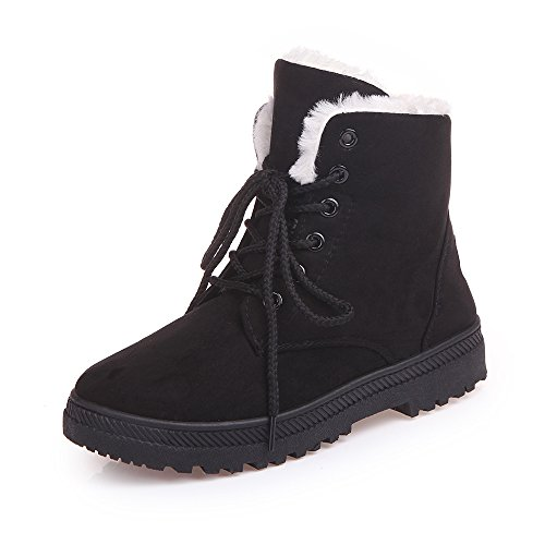Xiakolaka Womens Fleece Lined Suede Platform Lace Up Winter Boots