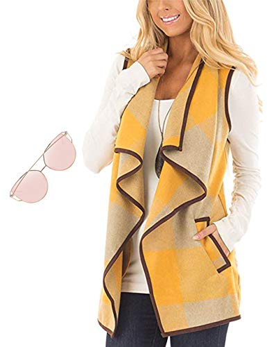 Woman's Color Block Lapel Open Front Sleeveless Plaid Vest Cardigan with Pockets Women Sunglasses Black Friday