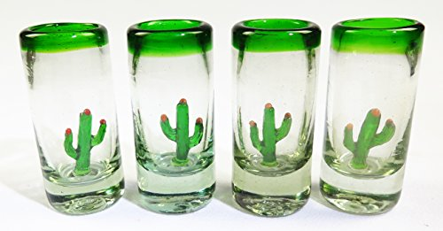 (Mexican Shot Glasses, 4 Saguaro Cactus, Green Rim, Hand Blown)