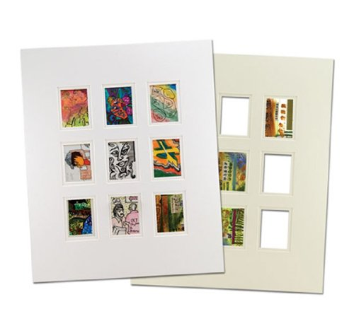 Viewpoint Artist Trading Card Collage Double Mat (Individual) 16×20' - White/White