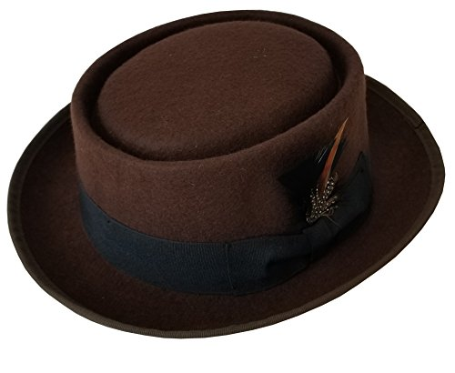 SHAHIN Men's Flat Top 100% Wool Felt Porkpie Pork Pie Hats W/Feather (XL, Brown) Mens Pork