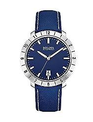 Bulova Accutron II Moonview Blue Leather Strap Watch