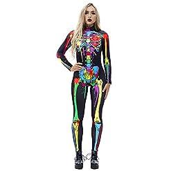 Jomedesign Halloween Costumes For Women 3d Skeleton Cosplay Jumpsuit Bodysuit