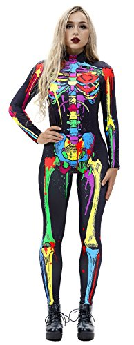 JomeDesign Womens 3D Skeleton Halloween Costumes Cosplay Jumpsuit Bodysuit Colorful Skull Large -