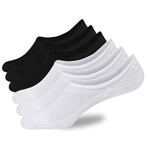 a1b2aaf9d321 No Show Socks Mens 6 Pack of Low Cut Socks Non-Slip Grips with Mesh ...