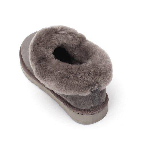 Sheep Touch Womens Balm Twin-Faced Sheepskin Closed-Back Slippers Grey QzLAO