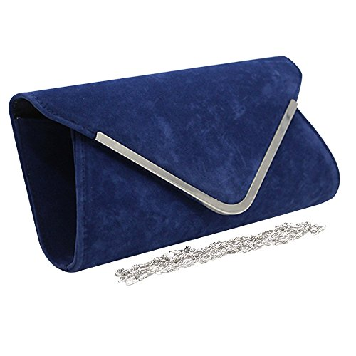 Envelope Clutch Light Bag Prom Bridal Cckuu Suede Ladies Leather Faux Navy Blue Party Blue Evening vxfRAaT