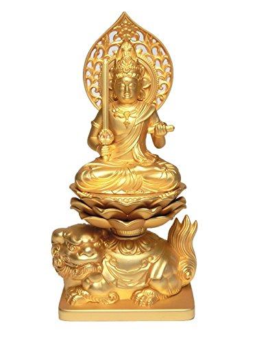 金色 文殊菩薩座像 (金属製 24K純金メッキ)高さ約15cm<仏像風水置物開運置物幸運置物> 文殊菩薩坐像 文珠菩薩 B00FKRR24A