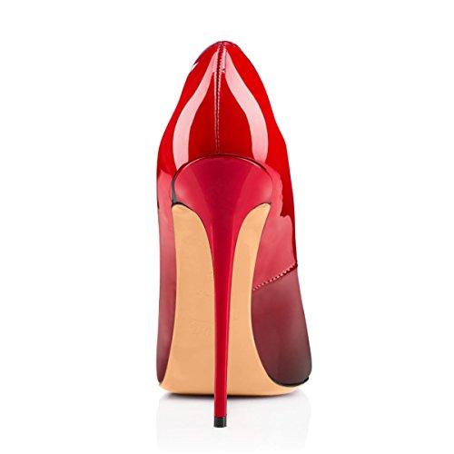 Damenschuhe Peep Toe Pumps Lackleder High Heels Stiletto Glitzer Rutsch Rot