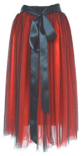 Dancina Women's Ankle Length Tutu Maxi A-line Long Tulle Skirt for Dates Weddings Plus (Size 12-22) Red Black