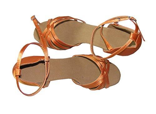 latino beige naranja Colorfulworldstore correas Zapatos de en baile rojo satén con color bronce cinco naranja de negro tTq6T