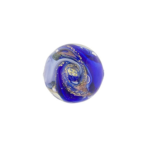 Cobalt Blue with Aventurina and 24kt Gold Foil Mare Round 14mm Murano Glass Bead Handmade Lampwork Gold Lampwork Beads