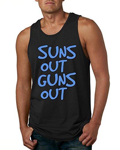 Suns Out Guns Out 22 Jump Street Blue Design Men's Fashion Tank Top (Black , Small )
