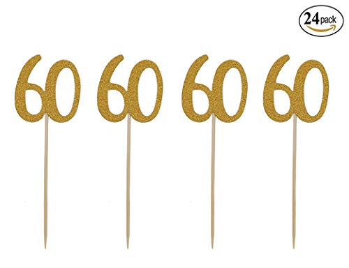 (Topfun 24 Pack 60th Birthday Cupcake Topper Number 60 Gold Glitter Cake Toppers Food Picks for 60th Birthday AnniversaryCelebrating Party Favors)