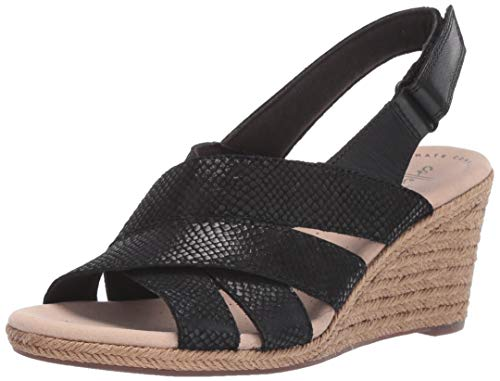 CLARKS Women's Lafley Krissy Espadrille Wedge Sandal, Black/Suede Leather Combi, 075 M US