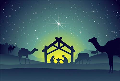 YEELE 9x6ft Nativity Christmas Scene Backdrop Baby Jesus in The Manger Under Starry Night Photography Background Xmas Party Decor Religious Belief Church Pictures Photobooth Props Digital Wallpaper (Wallpaper Christmas Manger)