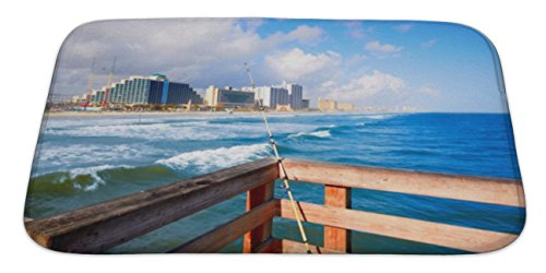 Gear New Bath Rug Mat No Slip Skid Microfiber Soft Plush Absorbent Memory Foam, Daytona Beach In Florida Coastline Of Usa, 34x21 Atlantic Coastline Memories