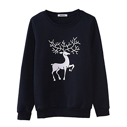 oppicong-womens-lovely-deer-printed-pullover-hoodie-bluefree