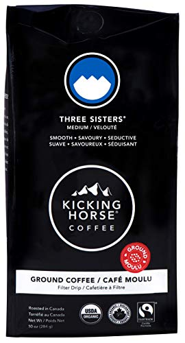 Kicking Horse Coffee, Three Sisters, Medium Roast, Ground, 10 oz - Certified Organic, Fairtrade,...