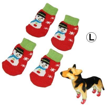 Cómodo Patrón de muñeco de Nieve de algodón Antideslizante para Mascotas, Calcetines de Navidad, tamaño: S Encantador ( Color : S-hps-0465l )