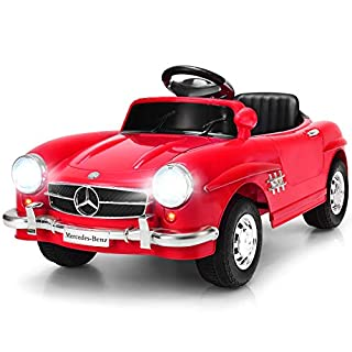 Costzon Ride On Car, Licensed Mercedes Benz 300SL, 6V Electric Kids Vehicle with Manual/Parental Remote Control Modes, Lights, Music, MP3, Volume Control, Red